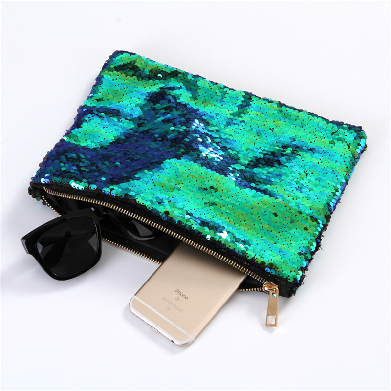Women Mermaid Sequins Cosmetic Bag Large Capacity Clutch Handbag Evening Clutch Envelope Bag BlingBling Makeup Bag Pouch rhinestone sequins clutch evening bag