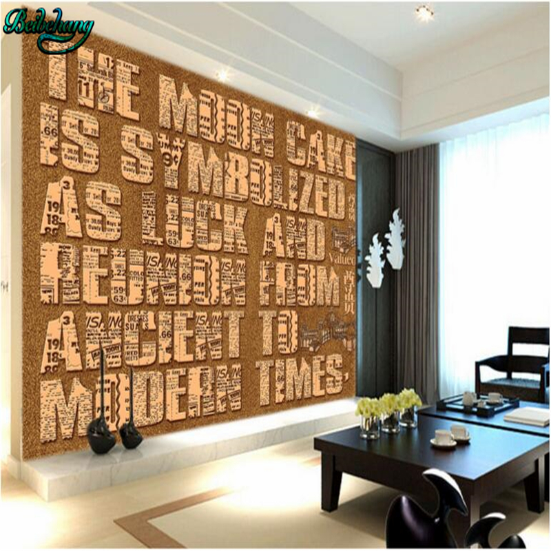 Beibehang Large Wallpaper Mural Custom Any Size Three: Beibehang 3D Stereo English Alphabet Background Wall
