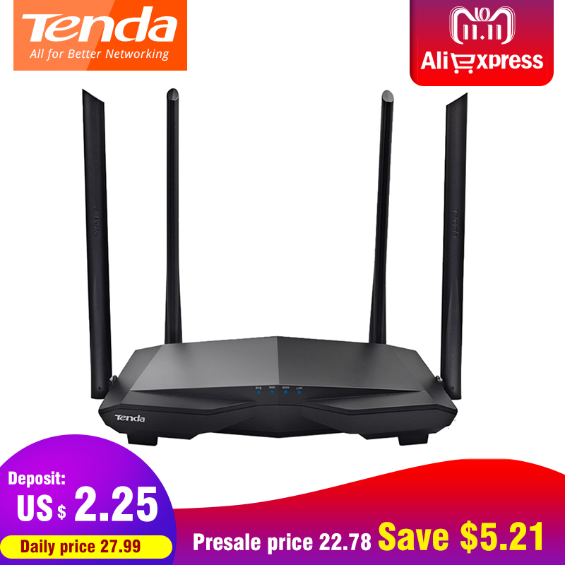 все цены на Tenda AC6 Dual Band 1200Mbps Wifi Router WI-FI Repeater Wireless 11AC 2.4G/5.0GHz Smart App Remote Control English Firmware онлайн