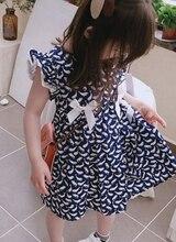 купить Children Girls Lovely  Fashion Casual Bow-knot Cotton Sleeveless Dolphin Print Cute Princess Blue Summer Dress 3-8Y Toddler Girl дешево