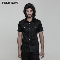 PUNK RAVE Punk Minimalist Glossy Metal Buttons Double Pockets Short Sleeve Fitted Men Blouse Elastic Twill Fabric Black Shirts