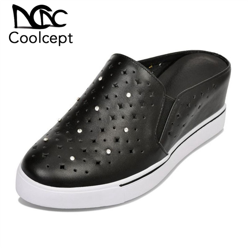 Coolcept Hollow Breathable Real Leather Sandals Round Toe Solid Color Wedges Slippers Fashion Crystal Summer Shoes