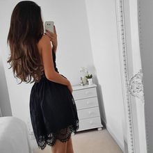 CAYA BOX white lace women backless dresses v neck Camisole black sexy strap women dress clothings for ladies mini vestidos