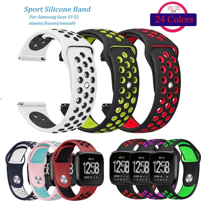 60963cfe47a4 Silicone Sport Wristband for Samsung Gear S3 S2 Frontier Classic Watch Band  xiaomi huami amazfit strap 20 22m Nike + Editon