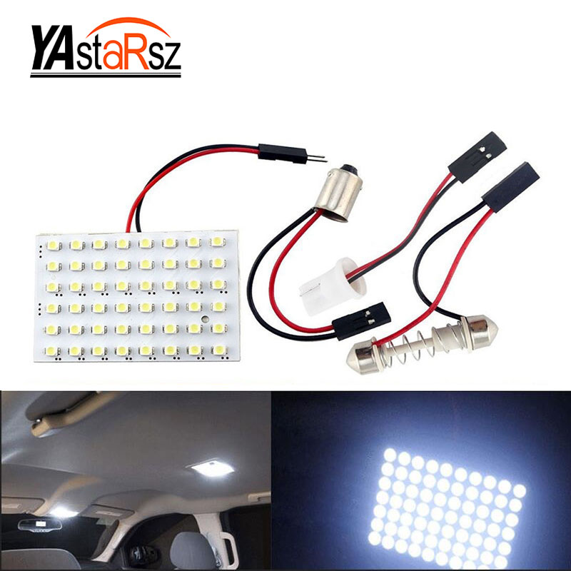 1pcs 48 SMD White Panel led car T10 BA9S Festoon Dome Bulb w5w c5w t4w reading Lamp led car bulbs Car Light Source 12V