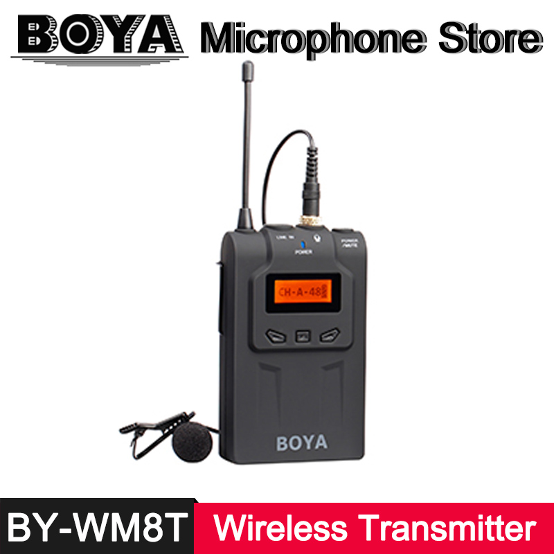 BOYA BY-WM8T Wireless Transmitter Digital Bodypack UHF 48 Channel Bodypack Lavalier Microphone for DSLR Camera ENG Broadcast Mic free shipping 1038 professional portable wireless microphone system with bodypack transmitter for dv dslr camera camcorder