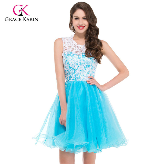 Grace Karin Cheap Blue Black Yellow Lace Short Puffy Prom Dresses