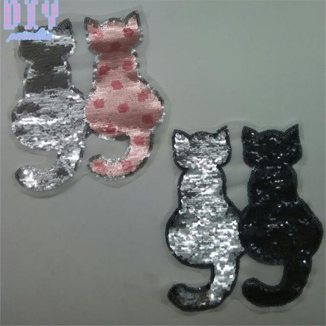 752cd76273 10PCS Cute Cat Reversible Change Color Sequins Sew On Patches for kids boy  girl clothes DIY Patch Applique Bag Crafts