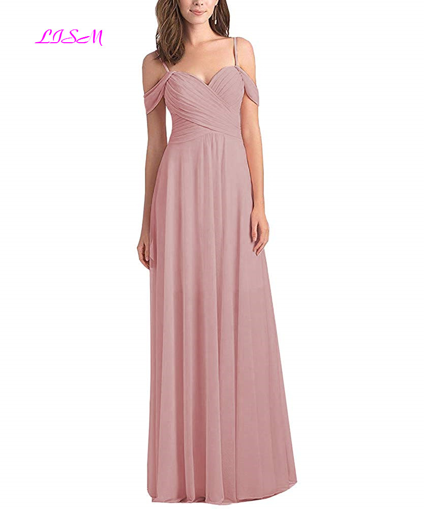 Simple Long Chiffon Blush Pink   Bridesmaid     Dress   for Wedding Party Gowns A Line Sweetheart Sleeveless Straps Formal Prom   Dress