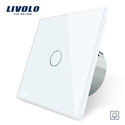 Livolo EU Standard, Door Bell Switch, Crystal Glass Switch Panel, 220~250V Touch Screen Door Bell Switch,VL-C701B-1/2/3/5