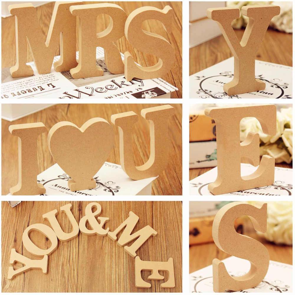 งานแต่งงานตัวอักษรไม้ตัวอักษร Word ส่วนบุคคลภาษาอังกฤษ DIY Craft Party Party ตกแต่ง Hand Made Retro Design