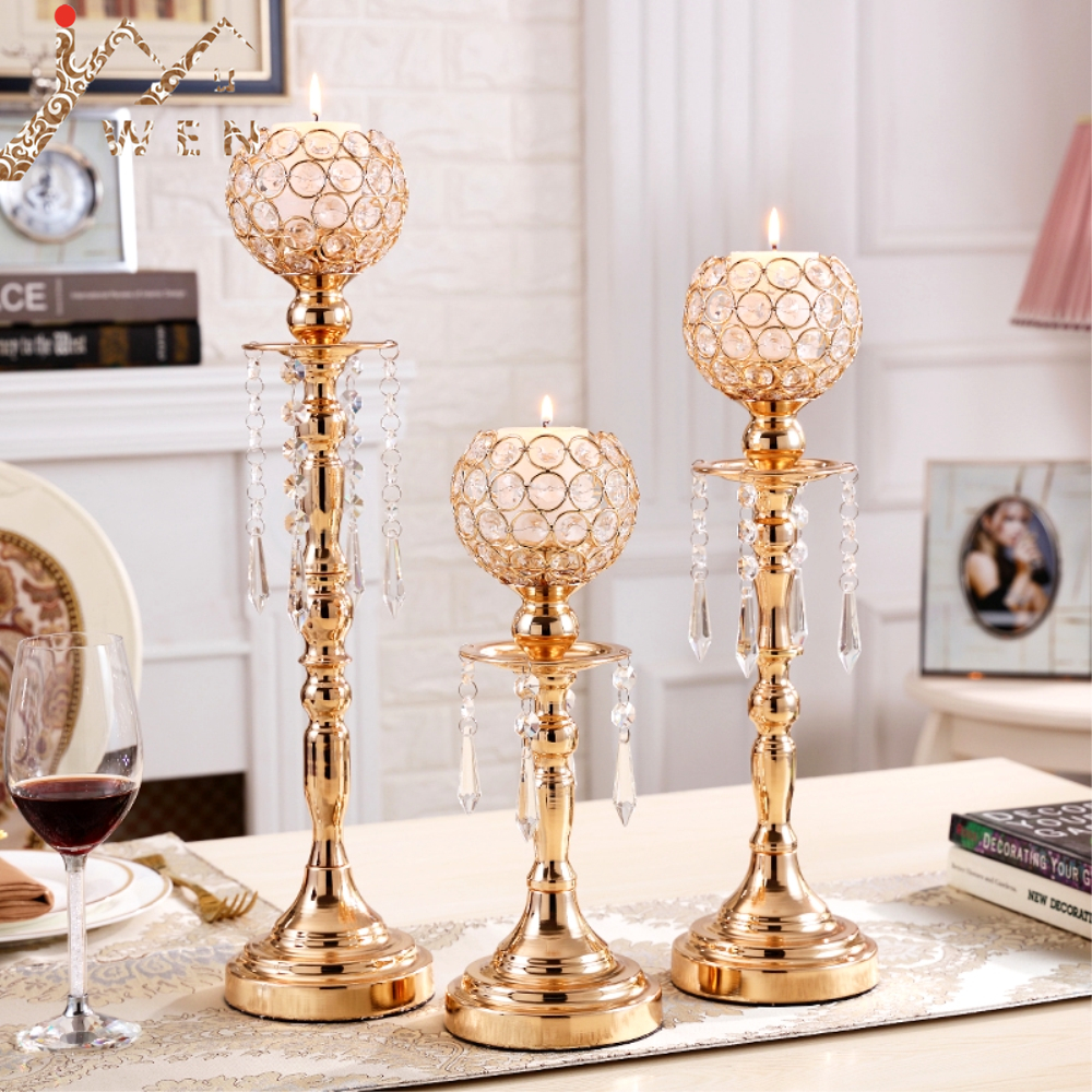 Crystals Candle Holders Delicate Wedding Candelabra Romantic Candlesticks Table Centerpiece For Home Decoration 3 size