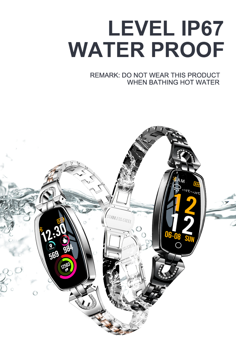 LEMFO H8 Waterproof Bluetooth Women's Smart Watch With Heart Rate Monitoring For Android iOS 8
