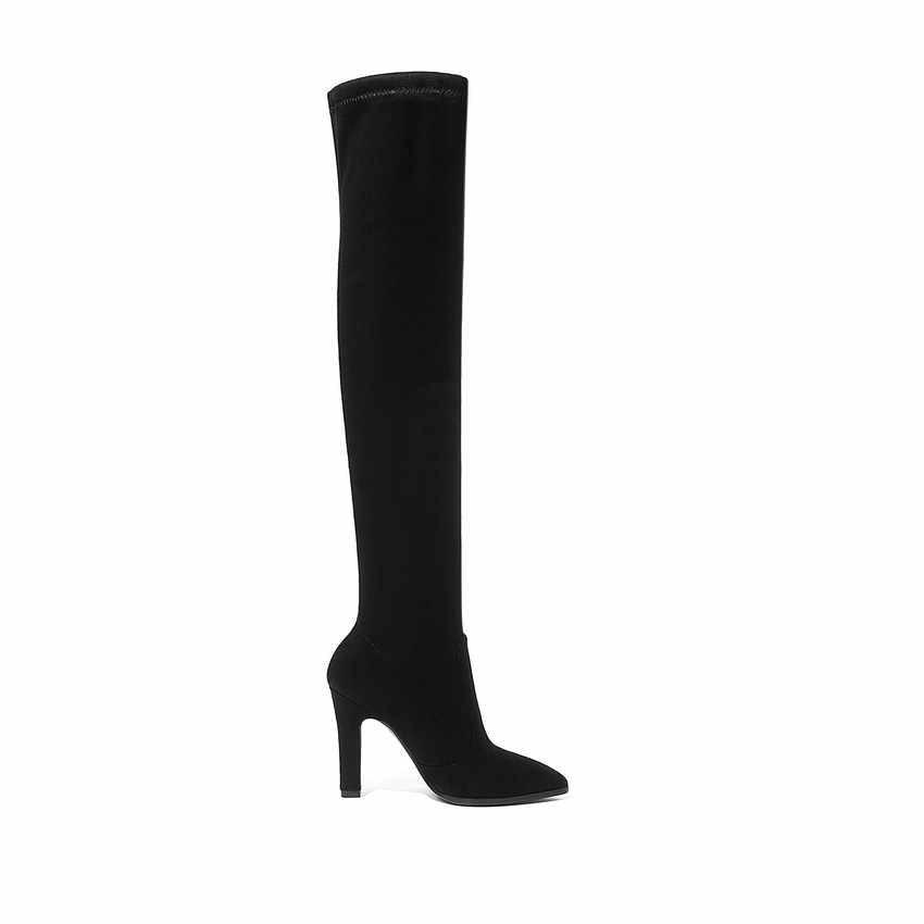 QUTAA/2020 г. Женские Сапоги выше колена зимняя обувь без шнуровки Универсальные женские сапоги на тонком высоком каблуке с острым носком размер 34-43