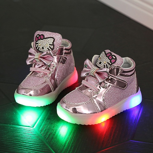 2018 New European Cartoon LED lighted children casual shoes glitter girls  boys boots high quality cute baby kids sneakers eb7fca68481e