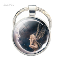Angel on Moon Print Keychain Fairy Jewelry Glow In The Dark Glass Cabochon Fashion Gifts for Women