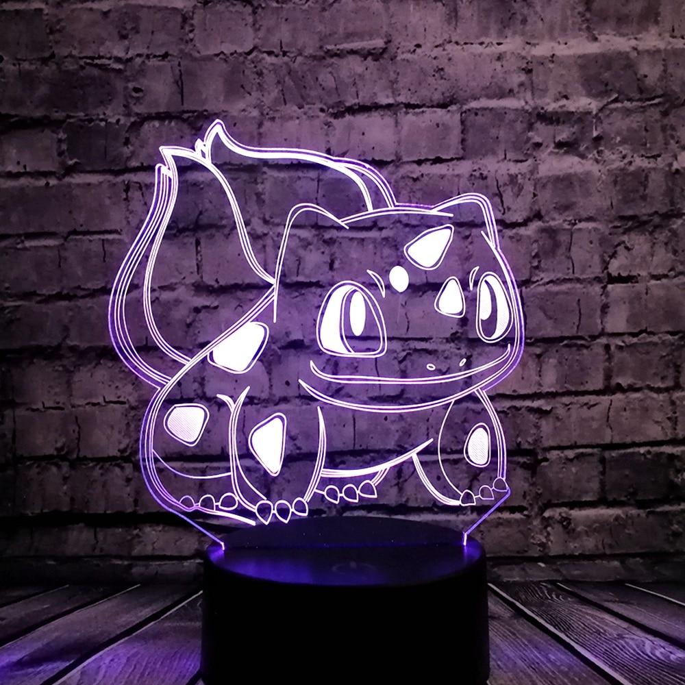 Tier Frosch Samen 3D Cartoon USB Lampe Pokeball Bulbasaur Pokemon Go - Nachtlichter - Foto 3