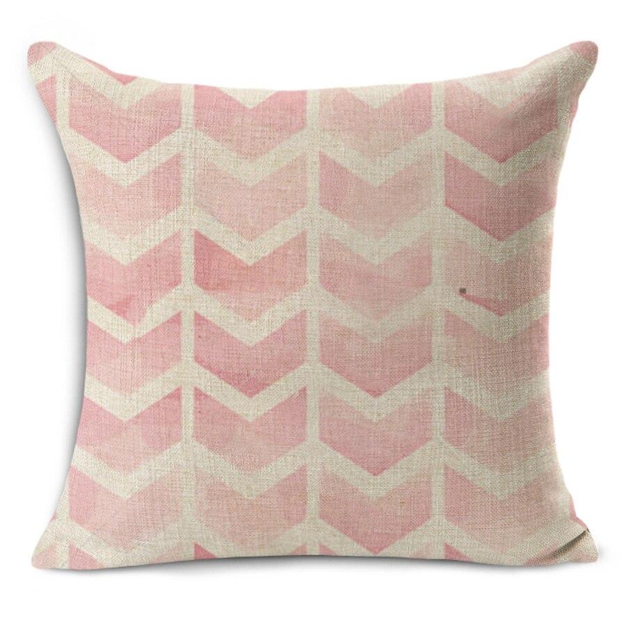 2017 Nordic Vintage pink geometric print home decorative throw pillow cotton linen bedding pillowcase 45x45cm square pillows