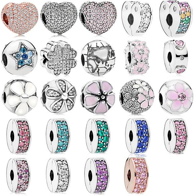 24 Style Silver Beads Charms Rose Gold Love Flower Crystal Stopper Beads for Women Original Pandora Charm Bracelet & Bangle