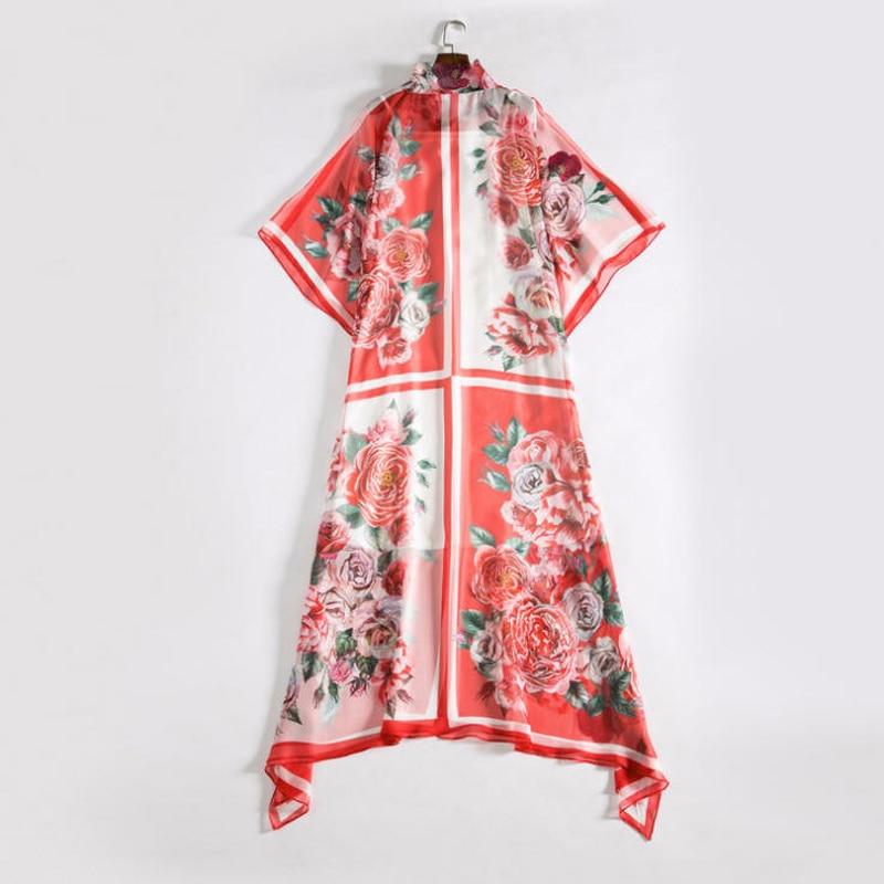 B030 Chauve Arc De Robe Soie Maxi Femmes En Fleur Printed Mousseline Rose Manches Longue souris Lâche Printemps Col Imprimé 2018 Été Féminine Robes gd1xa