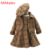 Mihkalev 3 piece girls winter sets for children clothing set plaid caot + dress + hat kids clothes girls princess clothes suits
