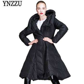 Brand Luxury 2018 Winter Women Down Jacket Elegant Skirt Type 90% White Duck Down Coat Chic Female Jacket Thick Overcoat AO688