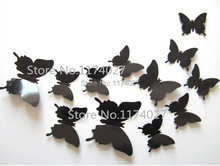 Free shipping 12pcs PVC 3d Butterfly Home decor solid black color small cute Wall stickers Decoration Butterflies Decals