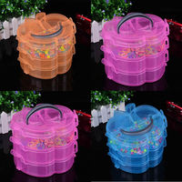 Hot Jewelry Beads Container Desktop Transparent Plastic Storage Box Jewelry Organizer Case Holder Cabinets For