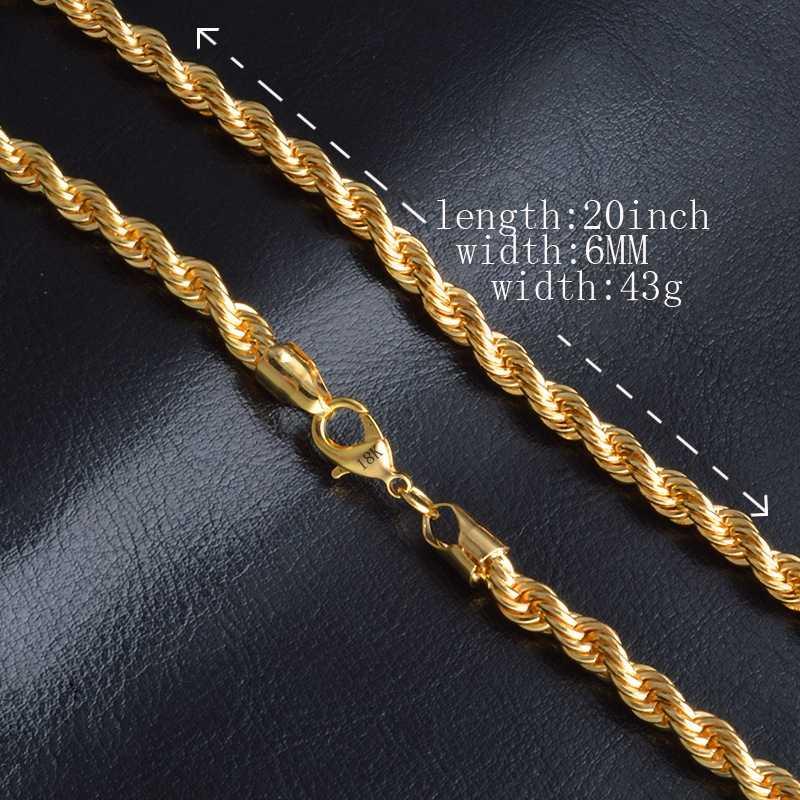 18 K штамп Золотое наполнение твист цепочка на шею для мужчин/женщин Золотая веревочная цепочка украшения Африки Арабская цепочка Эфиопский длинный подарок бойфренду