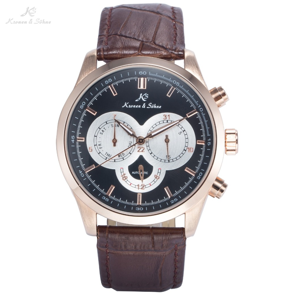 KS Luxury Brand Day Date 24 Hours Display Leather Strap Male Classic Wristwatch Men Self Wind Automatic Mechanical Watch / KS265 цены