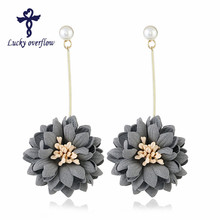 2018 New Fashion European Classic Pearl Jewelry Fabric Navy blue Flowers Earrings Best Gift for Christmas