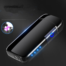 Inductive Double Arc USB Lighter Rechargeable Electronic LED Power Display Cigarette Plasma Palse Pulse Thunder
