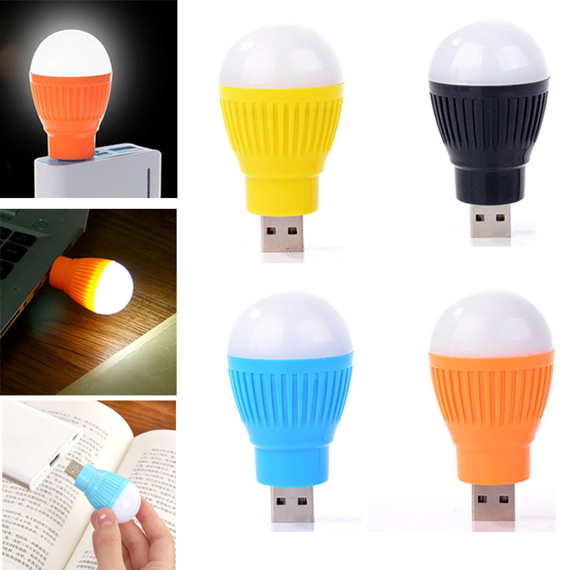 Emergency Plastic Single LED Computer Lamp USB Reading Light Laptops Bulb