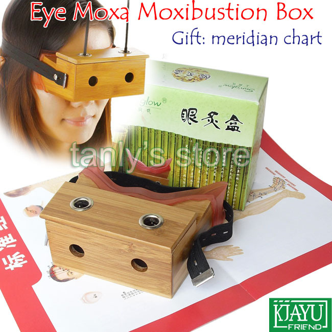 Good quality! wholesale & retail eyes moxa box moxibustion massager bamboo material (gift meridian chart) 6set/lot