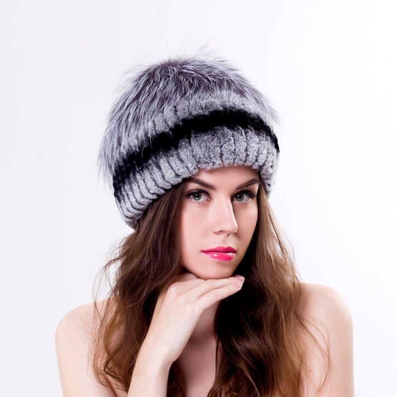 Hiver femmes rex lapin chapeau de fourrure avec fourrure de renard ensemble  top mode de fourrure en tricot chapeaux elasitc bonne qualité femmes bonnets 2cdfea39cdb