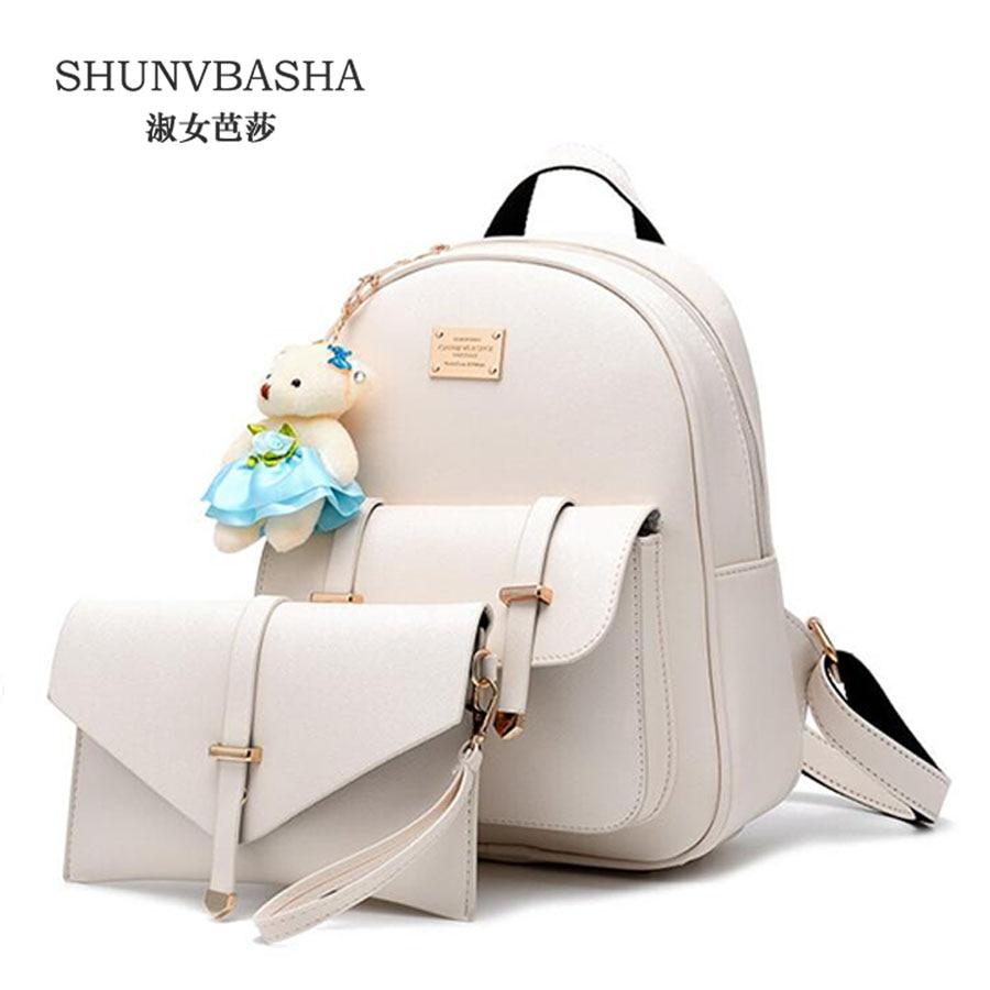 Female Pu Leather Backpacks Beige Casual School Bags For Teenage Girls Mochila Feminina Ladies Sweet Backapcks
