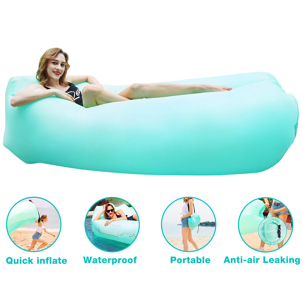 6 Colors Waterproof Inflatable Air Seat Two Seat Adult Air Sofa Outdoor Bean Bag Beach Quick Folding Lazy Sleeping Sofa Lounge