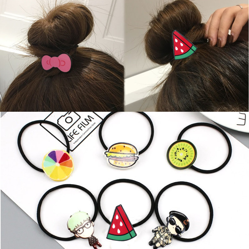 5PCS New Girls Women Cartoon Character Animal Fruit Hair Accessories Fashion Kids Candy Rubber Bands Gum Child Novelty Headwear