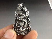 Collectible Decorated Old Handwork Tibet Silver Flying Dragon Statue Amulet