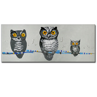 Hand Painted Modern Abstract Animals Owl Oil Painting On Canvas Abstract Lovely Owl Wall Picture Living Room Home Wall Decor Art