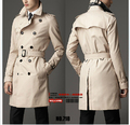 Homens casuais da marca New Europeia minimalista Inglaterra Primavera Magro trespassado casaco de Médio e longo casaco trench coat/S-6XL