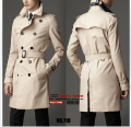 Men's brand casual New European minimalist England Spring Slim double-breasted coat and Medium long trench coat Overcoat /S-6XL