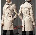 Ocasionales de los hombres de Nueva Inglaterra Primavera minimalista Europea Delgado abrigo de doble botonadura y Medio largo trench coat Abrigo/S-6XL