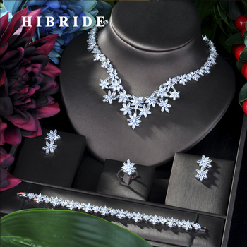 HIBRIDE New Arrival AAA CZ African Necklace Earring Jewelry Set for Women Wedding Zircon CZ Dubai Bridal jewelry Set N-05