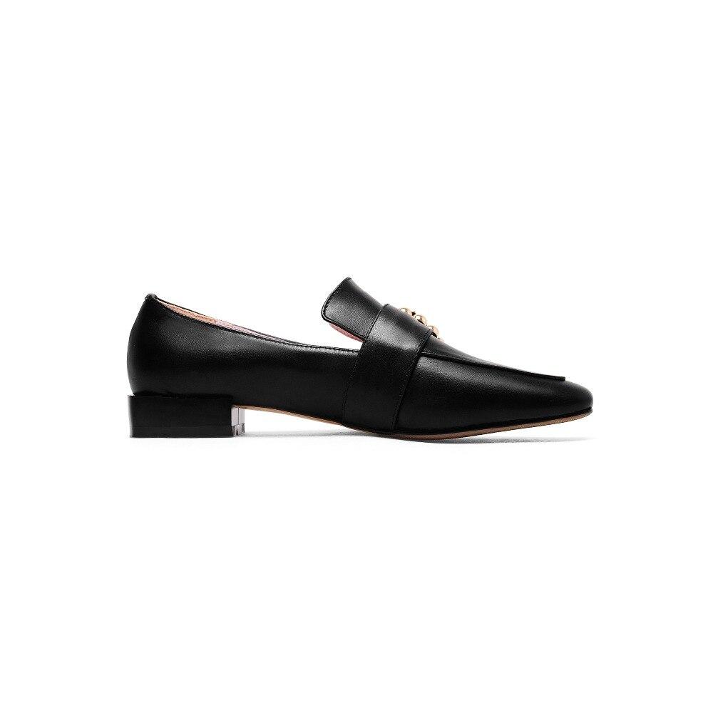 Primavera Size41 43 Brown Tacones Otoño Brogue Cuero Señoras brown Bajos Cuadrados black Beige Grandes 42 De 2018 Mujeres Genuino Furtado Zapatos Arden aqOwEUU