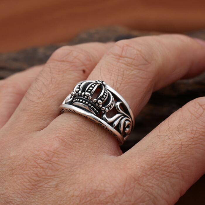 100% реальные Серебро 925 Корона мужские кольца винтажном стиле панк 100% реального стерлингового серебра 925 Прохладный моды личности украшения ...