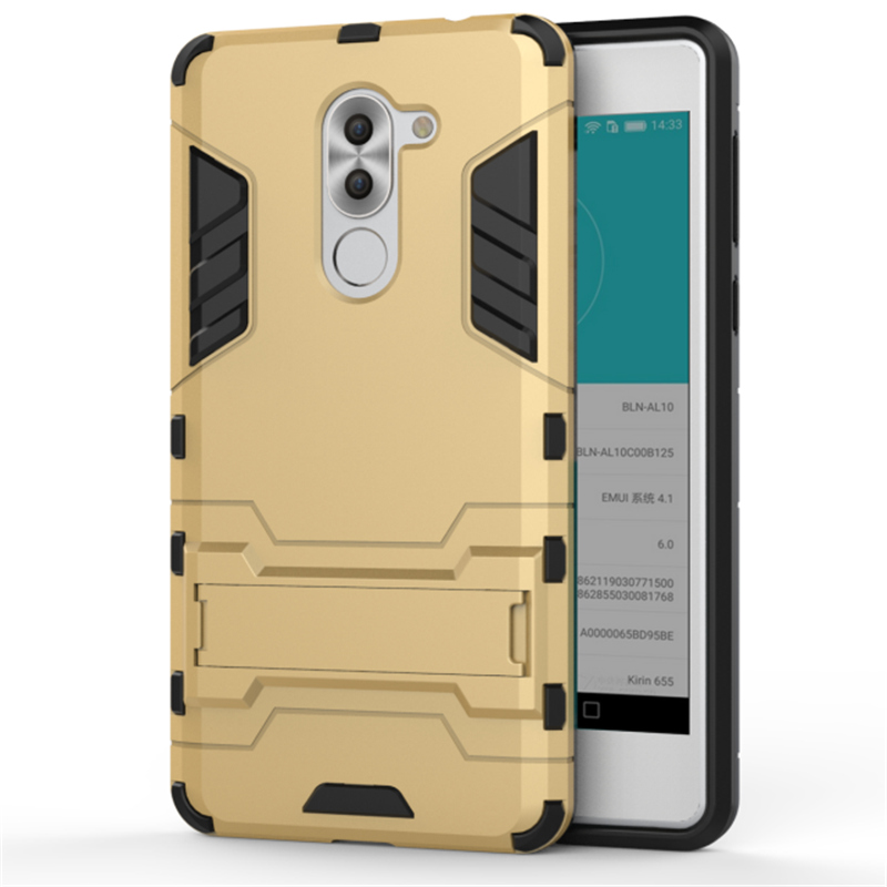 Soft Silicon PC Hard Armor Iron Man Case For Huawei GR5 2017 Honor 6X X6 Mate 9 Lite Phone Anti knock Back Cover With Stand in Half wrapped Cases from Cellphones Telecommunications