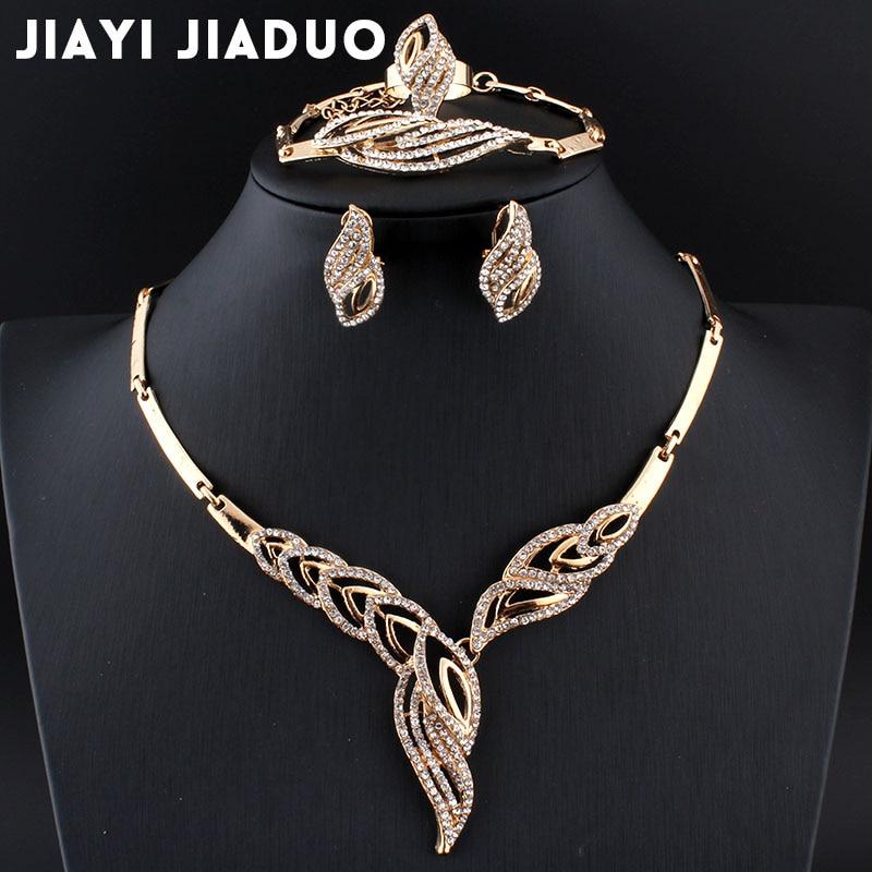 Jiayijiaduo Hochzeit Schmuck Sets Afrikanische Perlen Gold-farbe Halskette Ohrringe Armband Winter Für Frauen Elegante Kleid Zubehör Ein BrüLlender Handel Brautschmuck Sets