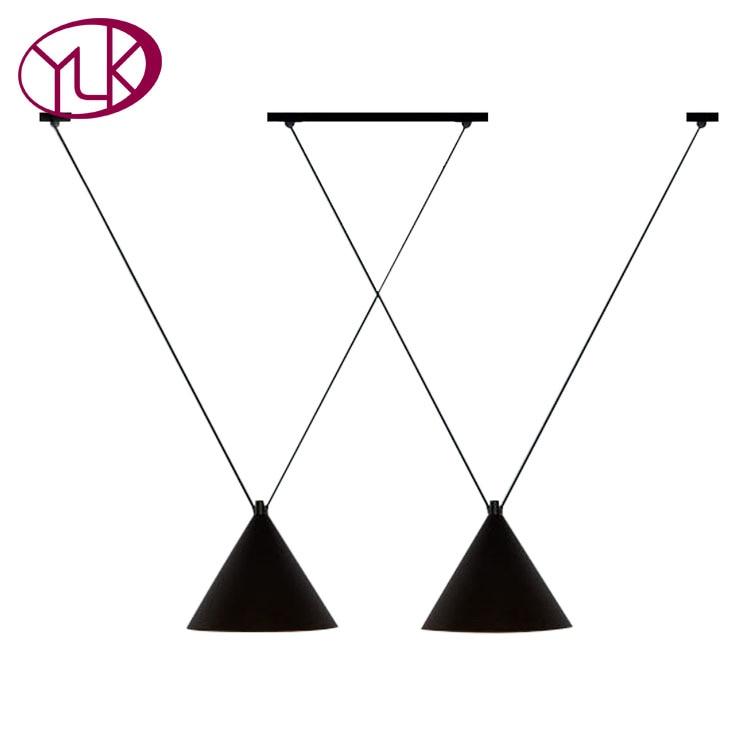 Europe Black Shade Pendant Light Dining Room Kitchen E27 Pendant Lamp Hanging Iron Lighting Fixture LED