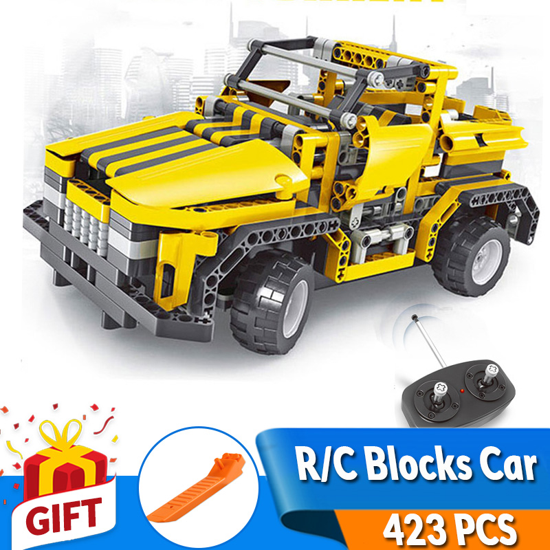 423pcs 2in1 Transform A to B Car DIY Assemble RC Car Building Blocks Technic Series RC Track Race Car Set Race Toys Gift for Kid